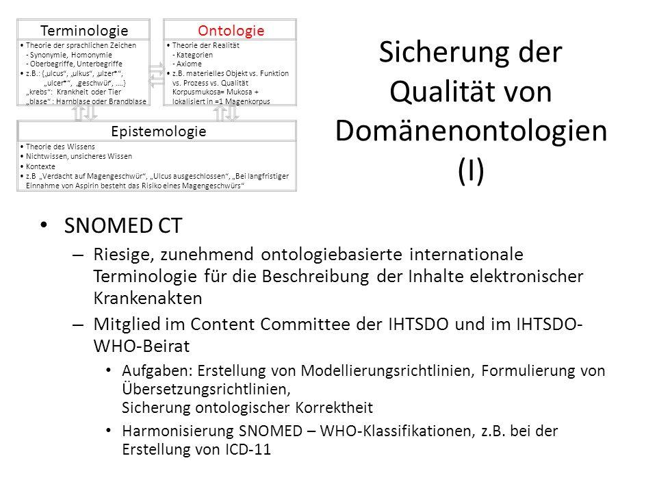 Sicherung der Qualität von Domänenontologien (I) SNOMED CT – Riesige, zunehmend ontologiebasierte internationale Terminologie für die Beschreibung der