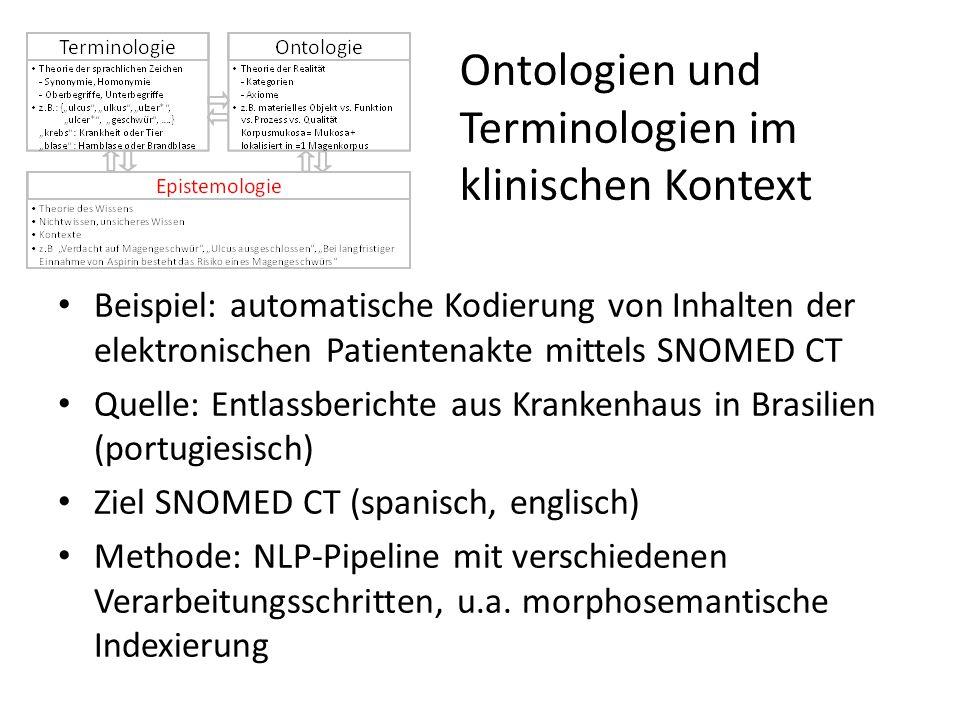Ontologien und Terminologien im klinischen Kontext Beispiel: automatische Kodierung von Inhalten der elektronischen Patientenakte mittels SNOMED CT Qu