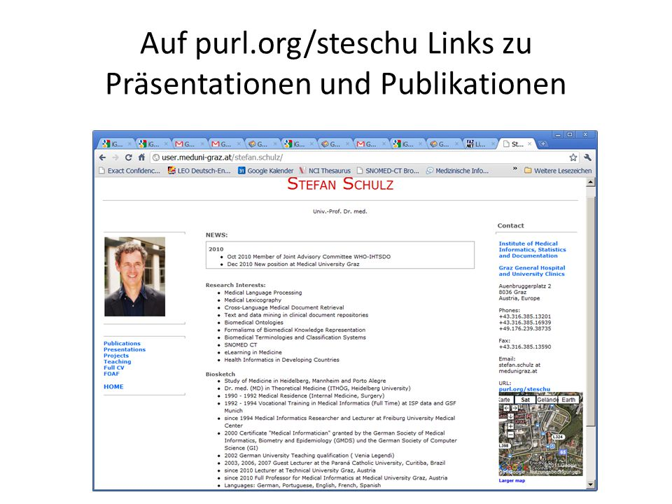 Auf purl.org/steschu Links zu Präsentationen und Publikationen