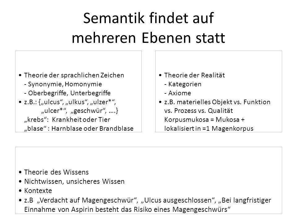 """Theorie der sprachlichen Zeichen - Synonymie, Homonymie - Oberbegriffe, Unterbegriffe z.B.: {""""ulcus"""", """"ulkus"""", """"ulzer*"""", """"ulcer*"""", """"geschwür"""", ….} """"kr"""