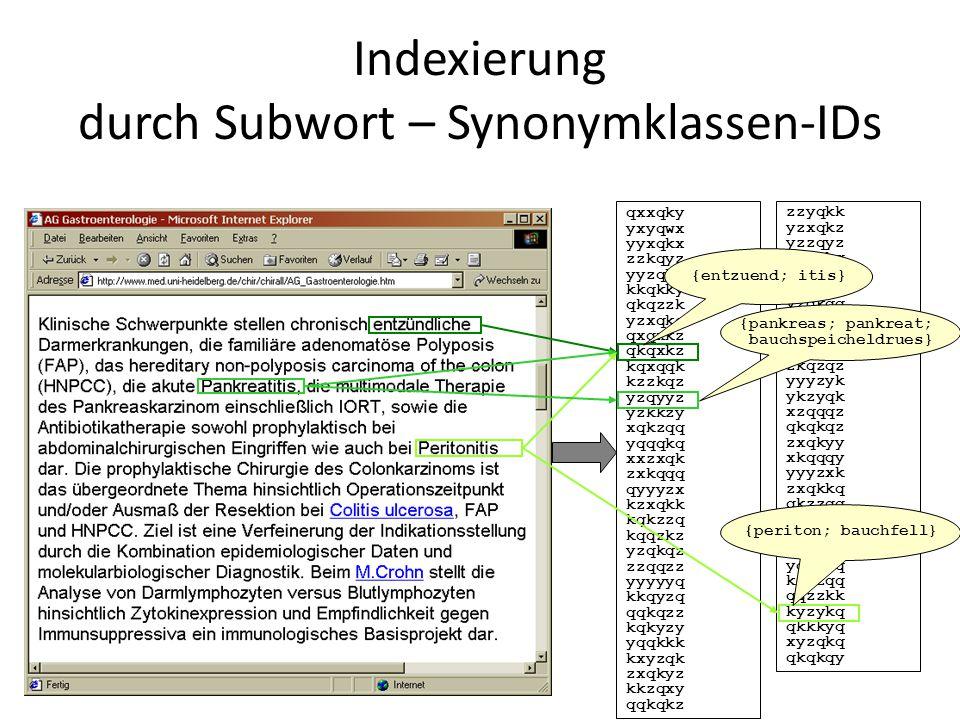 Indexierung durch Subwort – Synonymklassen-IDs qxxqky yxyqwx yyxqkx zzkqyz yyzqkq kkqkky qkqzzk yzxqkq qxqxkz qkqxkz kqxqqk kzzkqz yzqyyz yzkkzy xqkzq