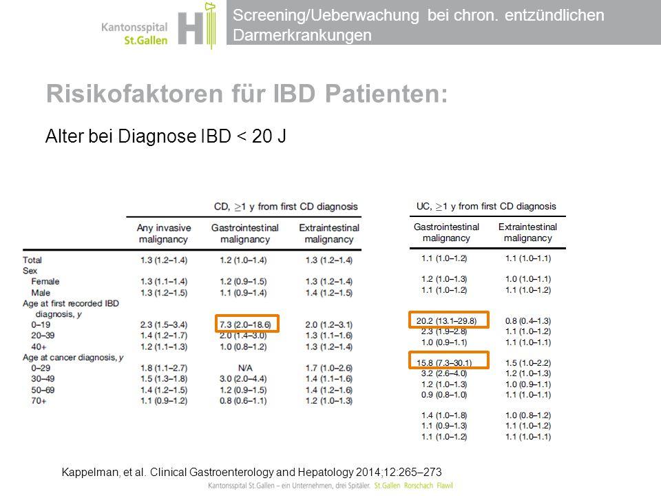 Screening/Ueberwachung bei chron. entzündlichen Darmerkrankungen Risikofaktoren für IBD Patienten: Alter bei Diagnose IBD < 20 J Kappelman, et al. Cli