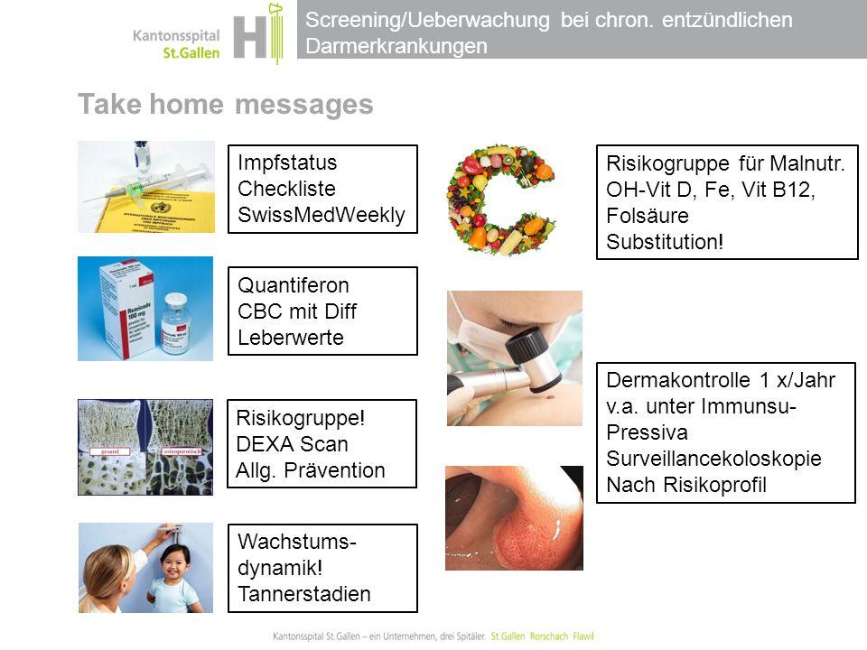 Screening/Ueberwachung bei chron. entzündlichen Darmerkrankungen Take home messages Impfstatus Checkliste SwissMedWeekly Quantiferon CBC mit Diff Lebe