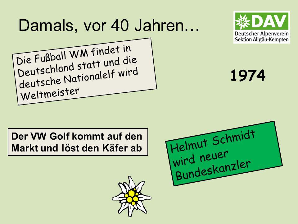 Damals, vor 40 Jahren… Helmut Schmidt wird neuer Bundeskanzler Die Fußball WM findet in Deutschland statt und die deutsche Nationalelf wird Weltmeister 1974 Der VW Golf kommt auf den Markt und löst den Käfer ab