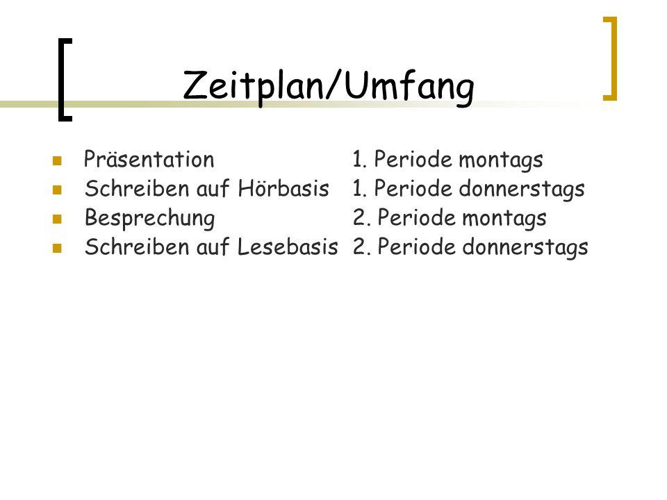 Zeitplan/Umfang Präsentation1. Periode montags Schreiben auf Hörbasis 1. Periode donnerstags Besprechung 2. Periode montags Schreiben auf Lesebasis 2.