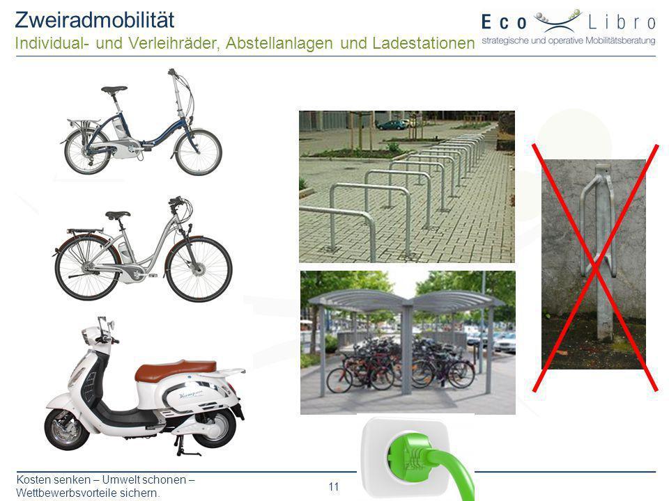 Kosten senken – Umwelt schonen – Wettbewerbsvorteile sichern. 11 Zweiradmobilität Individual- und Verleihräder, Abstellanlagen und Ladestationen