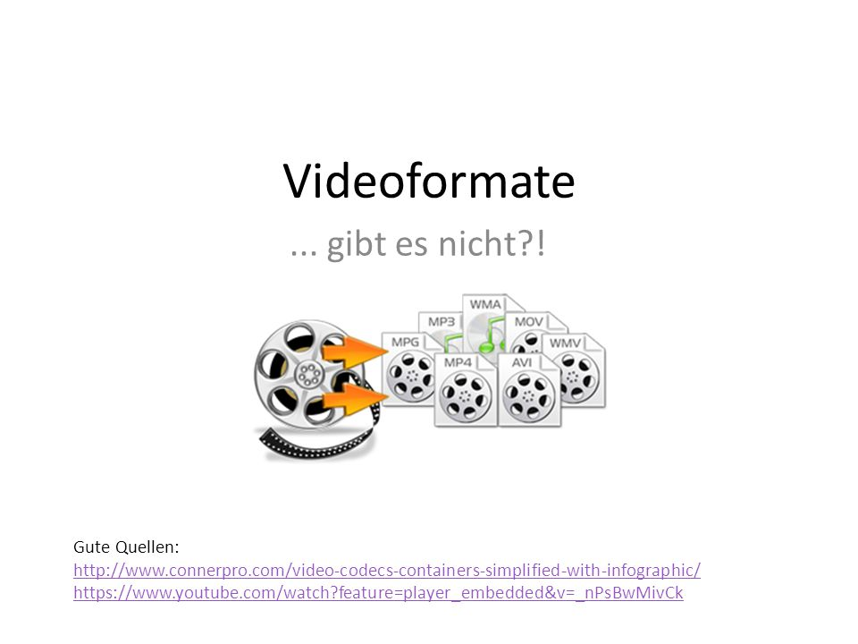 Videoformate... gibt es nicht?! Gute Quellen: http://www.connerpro.com/video-codecs-containers-simplified-with-infographic/ https://www.youtube.com/wa