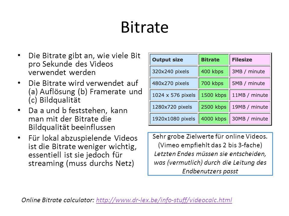 Bitrate Die Bitrate gibt an, wie viele Bit pro Sekunde des Videos verwendet werden Die Bitrate wird verwendet auf (a) Auflösung (b) Framerate und (c)