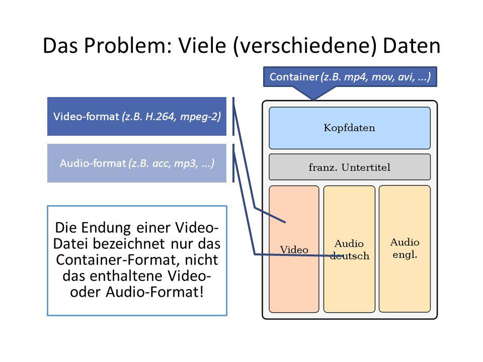 Das Problem: Viele (verschiedene) Daten Die Endung einer Video- Datei bezeichnet nur das Container-Format, nicht das enthaltene Video- oder Audio-Form