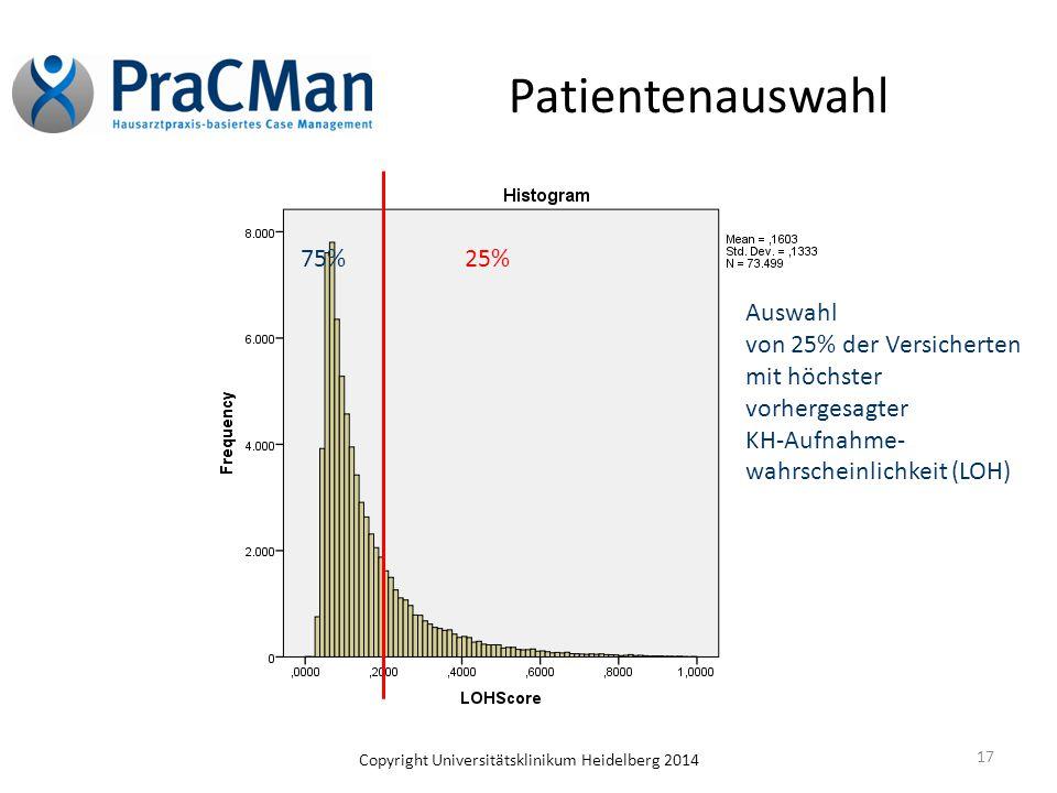 Copyright Universitätsklinikum Heidelberg 2014 Patientenauswahl 17 Auswahl von 25% der Versicherten mit höchster vorhergesagter KH-Aufnahme- wahrschei