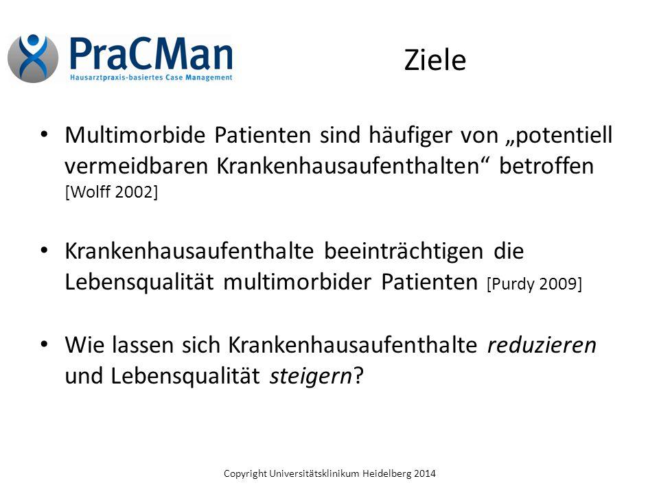 """Copyright Universitätsklinikum Heidelberg 2014 Ziele Multimorbide Patienten sind häufiger von """"potentiell vermeidbaren Krankenhausaufenthalten"""" betrof"""