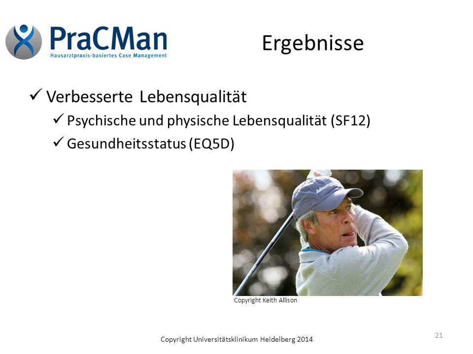 Ergebnisse Verbesserte Lebensqualität Psychische und physische Lebensqualität (SF12) Gesundheitsstatus (EQ5D) 21 Copyright Keith Allison