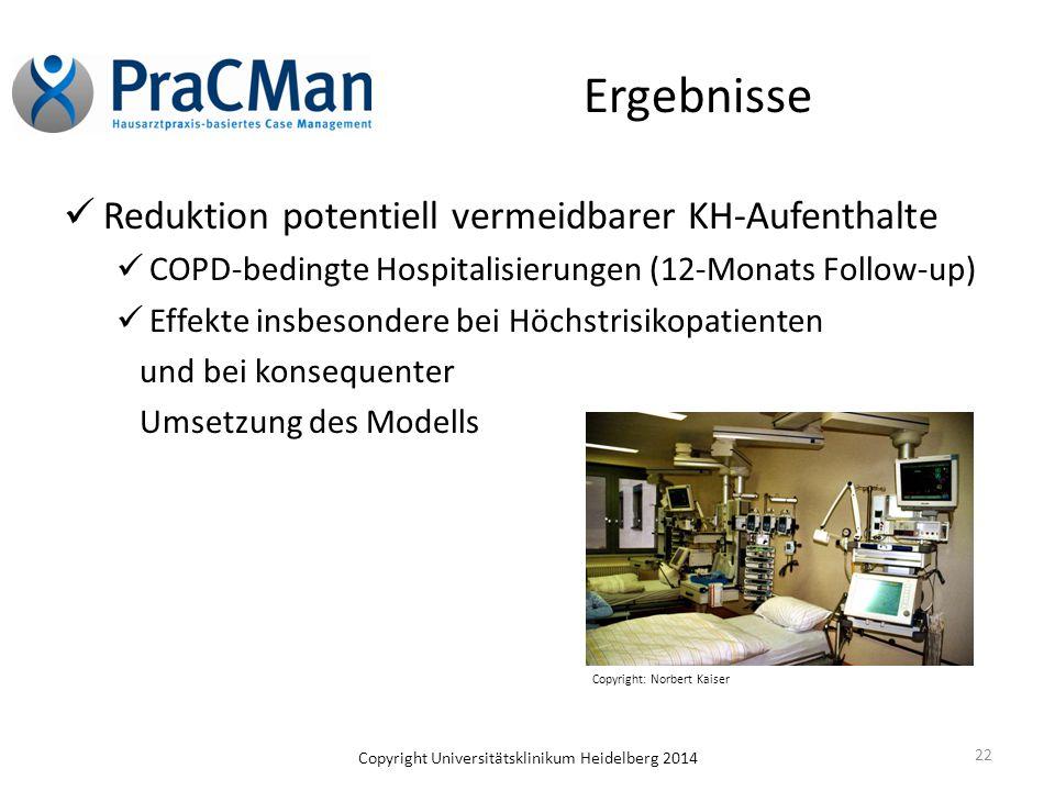 Copyright Universitätsklinikum Heidelberg 2014 Ergebnisse Reduktion potentiell vermeidbarer KH-Aufenthalte COPD-bedingte Hospitalisierungen (12-Monats