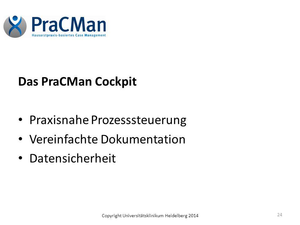 Copyright Universitätsklinikum Heidelberg 2014 Das PraCMan Cockpit Praxisnahe Prozesssteuerung Vereinfachte Dokumentation Datensicherheit 24