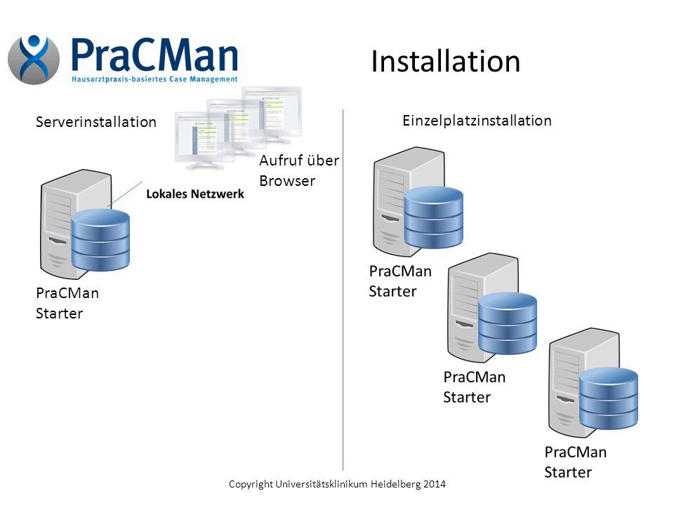 Copyright Universitätsklinikum Heidelberg 2014 Installation Serverinstallation Einzelplatzinstallation PraCMan Starter Aufruf über Browser