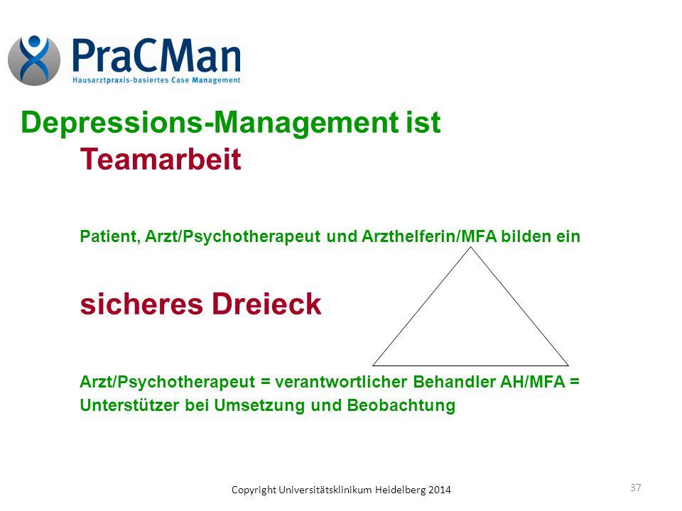 Copyright Universitätsklinikum Heidelberg 2014 37 Depressions-Management ist Teamarbeit Patient, Arzt/Psychotherapeut und Arzthelferin/MFA bilden ein