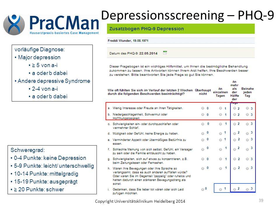 Copyright Universitätsklinikum Heidelberg 2014 39 Depressionsscreening – PHQ-9 vorläufige Diagnose: Major depression ≥ 5 von a-i a oder b dabei Andere