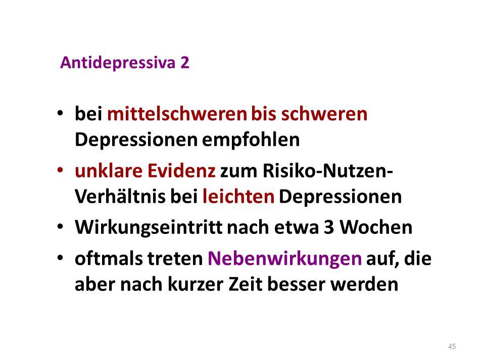 45 Antidepressiva 2 bei mittelschweren bis schweren Depressionen empfohlen unklare Evidenz zum Risiko-Nutzen- Verhältnis bei leichten Depressionen Wir