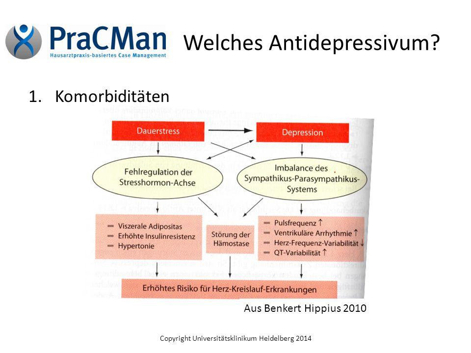 Copyright Universitätsklinikum Heidelberg 2014 Welches Antidepressivum? 1.Komorbiditäten Aus Benkert Hippius 2010