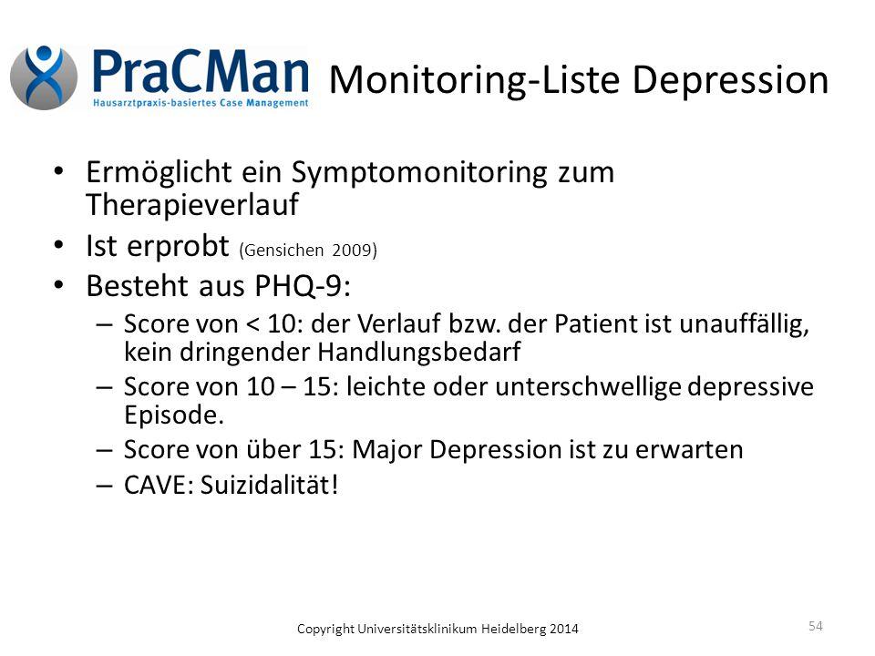 Copyright Universitätsklinikum Heidelberg 2014 54 Monitoring-Liste Depression Ermöglicht ein Symptomonitoring zum Therapieverlauf Ist erprobt (Gensich