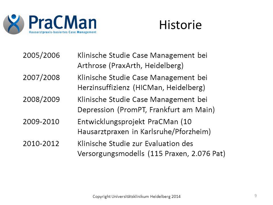 Copyright Universitätsklinikum Heidelberg 2014 Historie 2005/2006Klinische Studie Case Management bei Arthrose (PraxArth, Heidelberg) 2007/2008Klinisc
