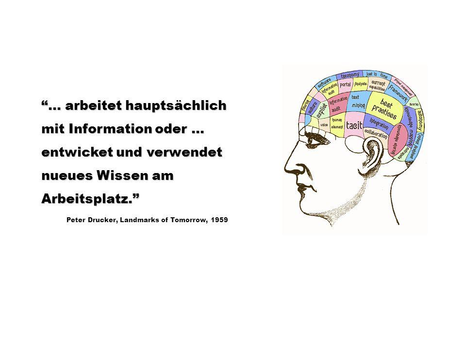 … arbeitet hauptsächlich mit Information oder … entwicket und verwendet nueues Wissen am Arbeitsplatz. Peter Drucker, Landmarks of Tomorrow, 1959