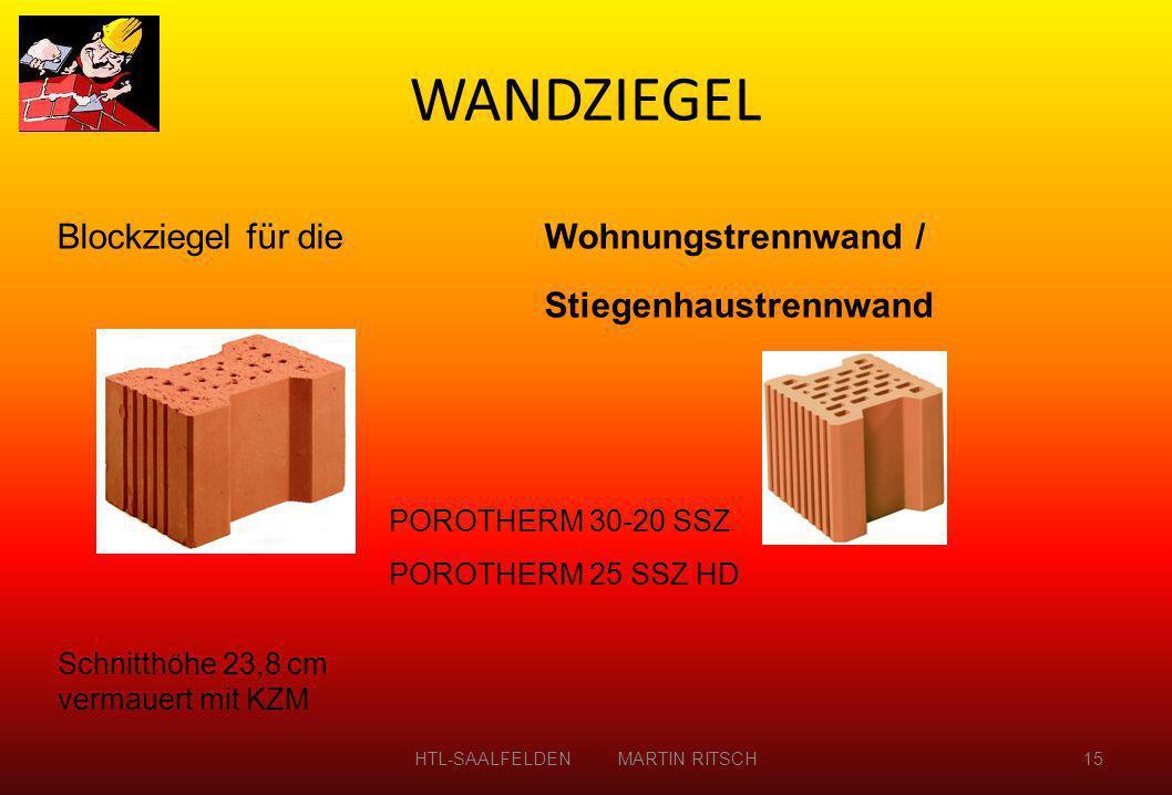 WANDZIEGEL HTL-SAALFELDEN MARTIN RITSCH15 Blockziegel für dieWohnungstrennwand / Stiegenhaustrennwand POROTHERM 30-20 SSZ POROTHERM 25 SSZ HD Schnitth
