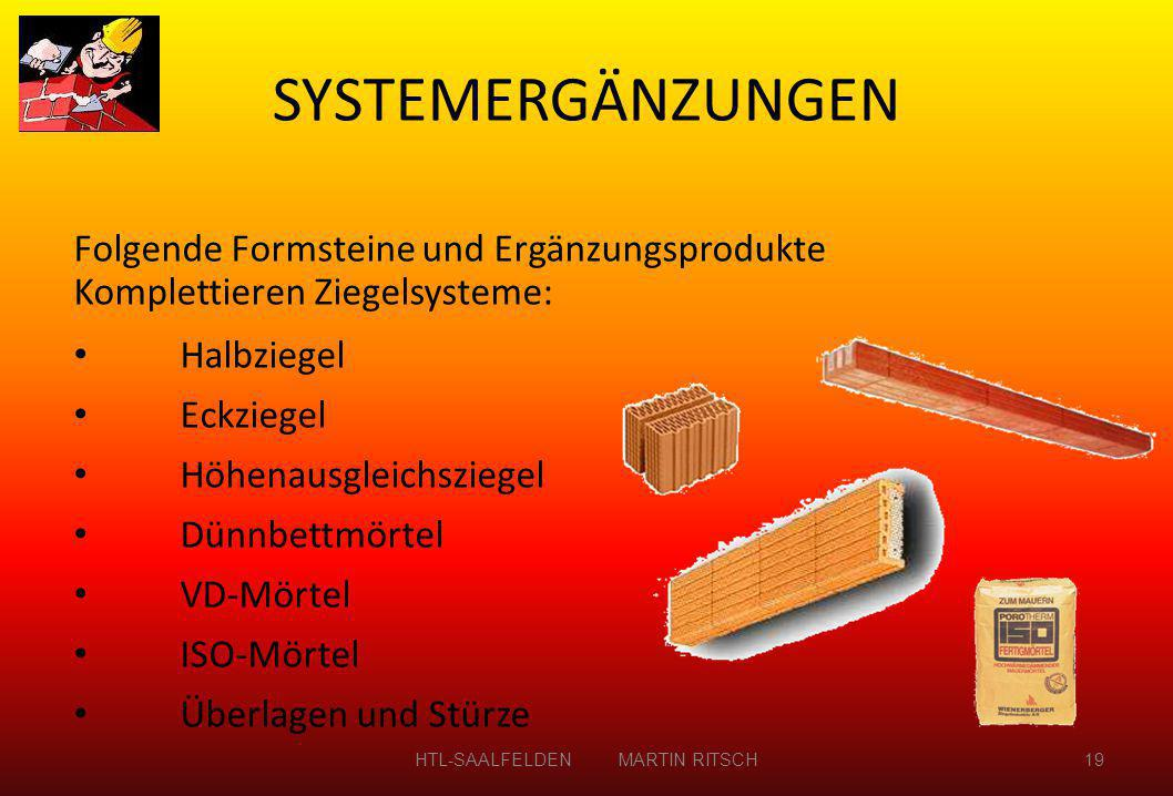 SYSTEMERGÄNZUNGEN HTL-SAALFELDEN MARTIN RITSCH19 Folgende Formsteine und Ergänzungsprodukte Komplettieren Ziegelsysteme: Halbziegel Eckziegel Höhenaus