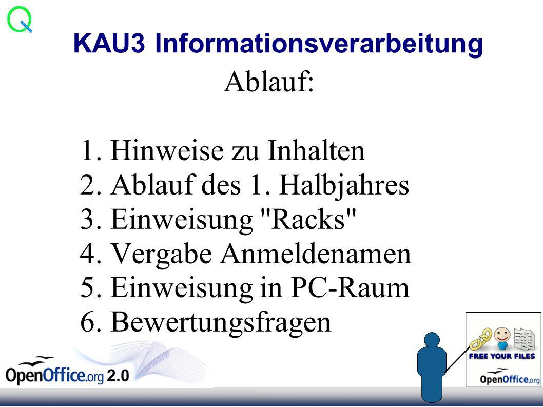 KAU3 Informationsverarbeitung Ablauf: 1. Hinweise zu Inhalten 2.