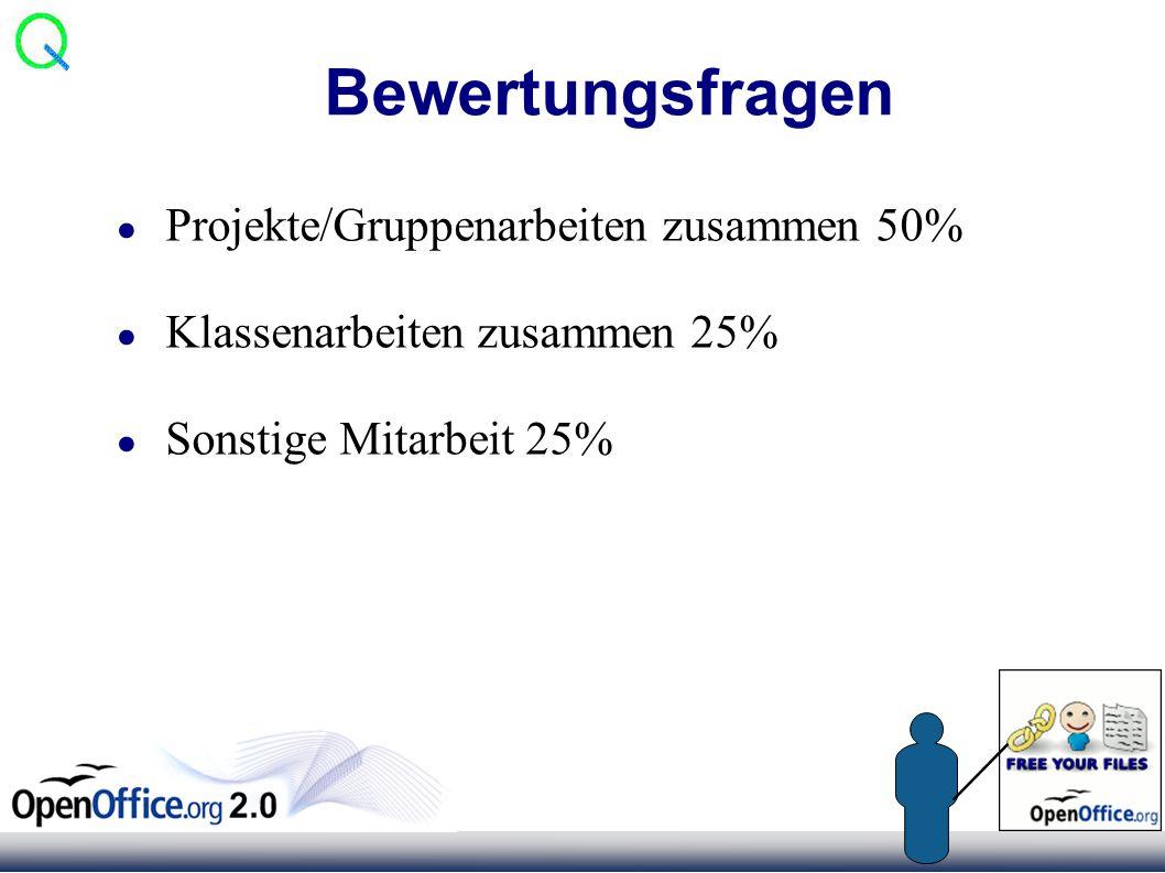 Bewertungsfragen ● Projekte/Gruppenarbeiten zusammen 50% ● Klassenarbeiten zusammen 25% ● Sonstige Mitarbeit 25%