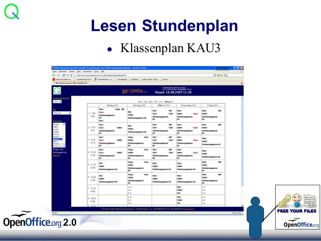 Lesen Stundenplan ● Klassenplan KAU3