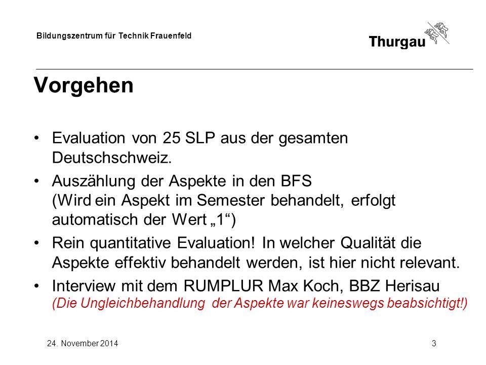 Bildungszentrum für Technik Frauenfeld 24. November 20143 Vorgehen Evaluation von 25 SLP aus der gesamten Deutschschweiz. Auszählung der Aspekte in de