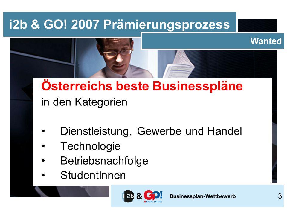 Österreichs beste Businesspläne in den Kategorien Dienstleistung, Gewerbe und Handel Technologie Betriebsnachfolge StudentInnen i2b & GO.