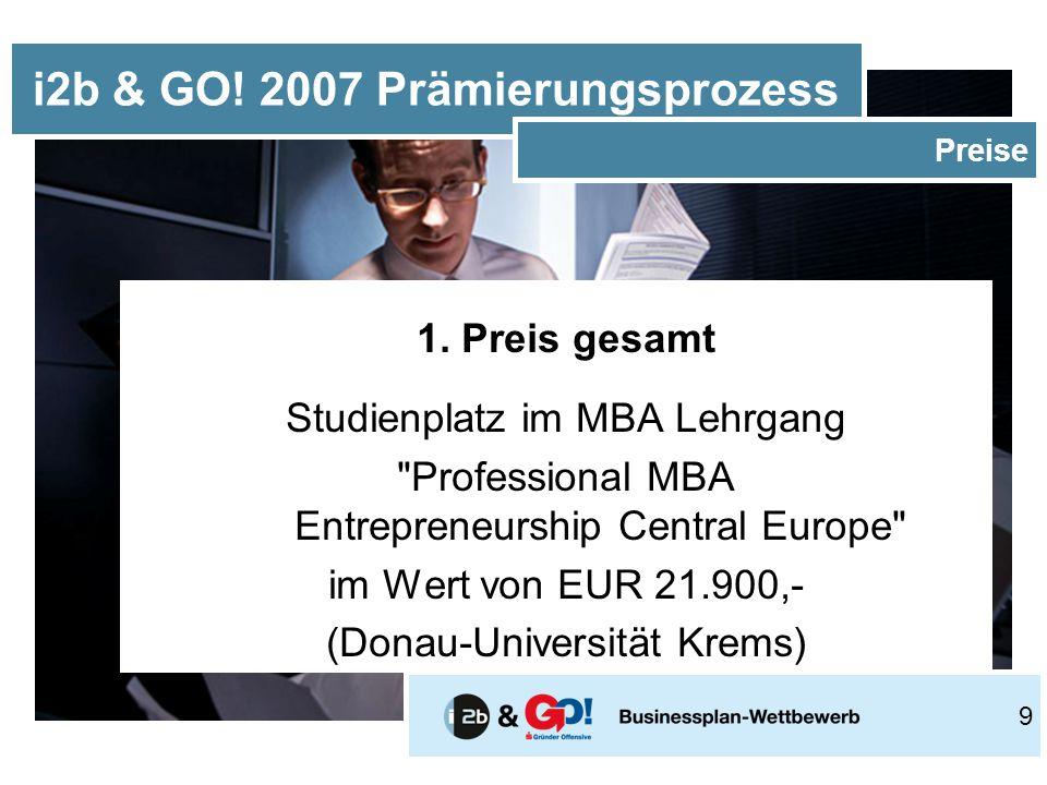 1. Preis gesamt Studienplatz im MBA Lehrgang