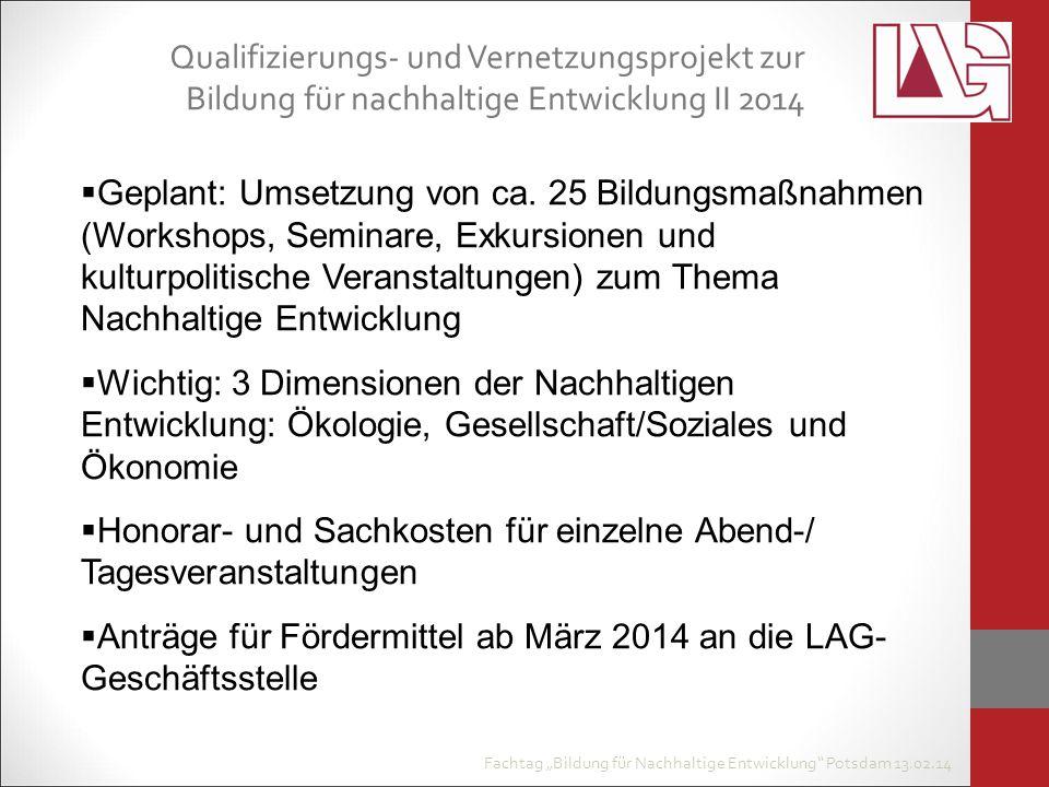"""Fachtag """"Bildung für Nachhaltige Entwicklung Potsdam 13.02.14  Geplant: Umsetzung von ca."""