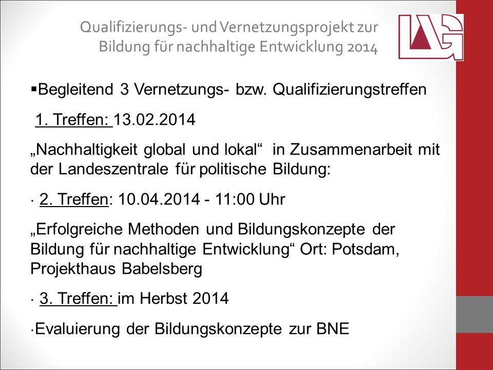 Qualifizierungs- und Vernetzungsprojekt zur Bildung für nachhaltige Entwicklung 2014  Begleitend 3 Vernetzungs- bzw.