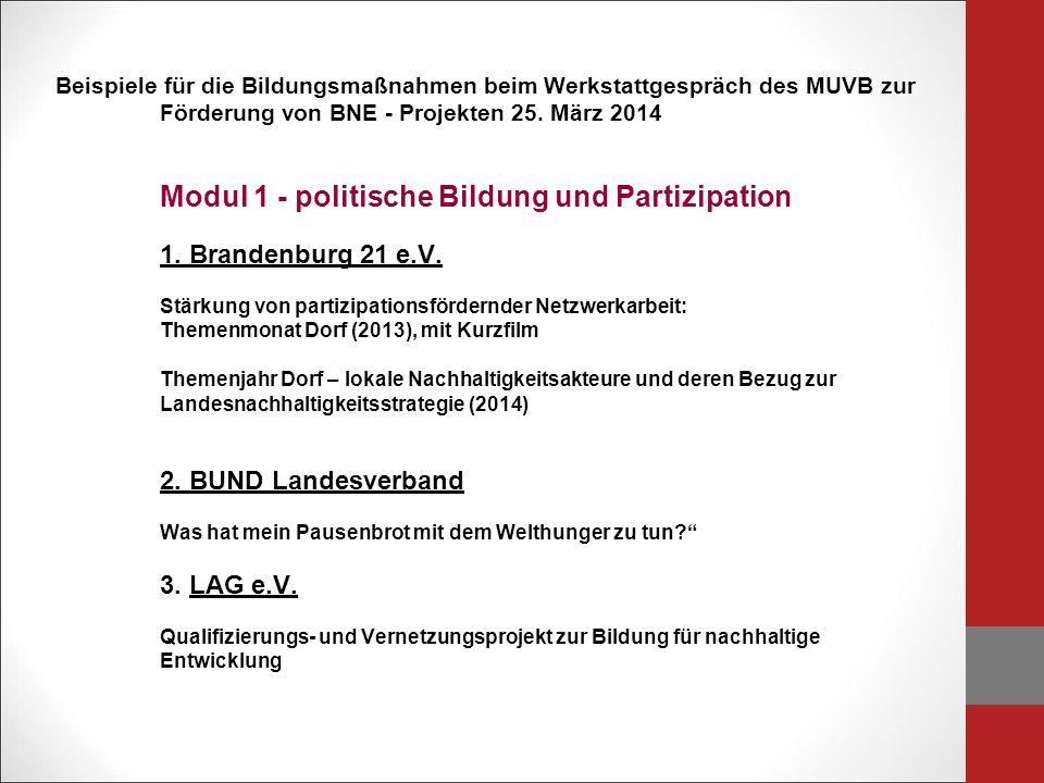 Beispiele für die Bildungsmaßnahmen beim Werkstattgespräch des MUVB zur Förderung von BNE - Projekten 25.