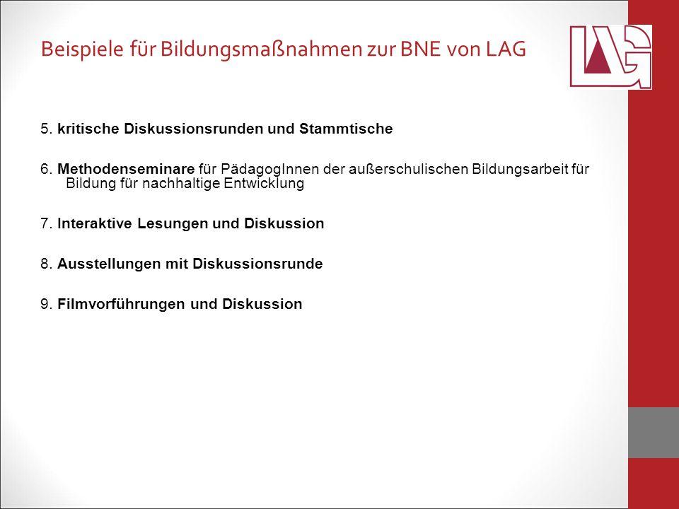 Beispiele für Bildungsmaßnahmen zur BNE von LAG 5.