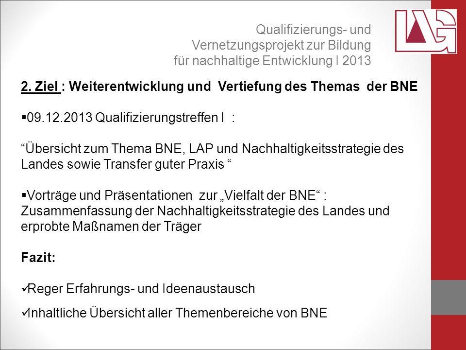 """2. Ziel : Weiterentwicklung und Vertiefung des Themas der BNE  09.12.2013 Qualifizierungstreffen I : """"Übersicht zum Thema BNE, LAP und Nachhaltigkeit"""