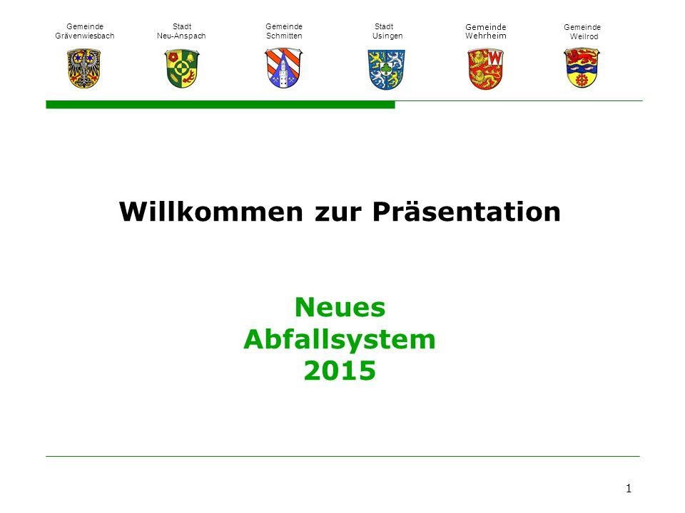 Willkommen zur Präsentation Neues Abfallsystem 2015 1 Gemeinde Grävenwiesbach Stadt Neu-Anspach Gemeinde Schmitten Stadt Usingen Gemeinde Wehrheim Gem