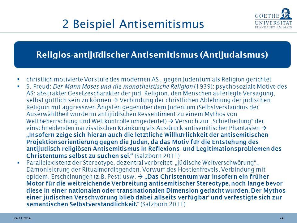2424.11.2014 Religiös-antiju ̈ discher Antisemitismus (Antijudaismus)  christlich motivierte Vorstufe des modernen AS, gegen Judentum als Religion ge