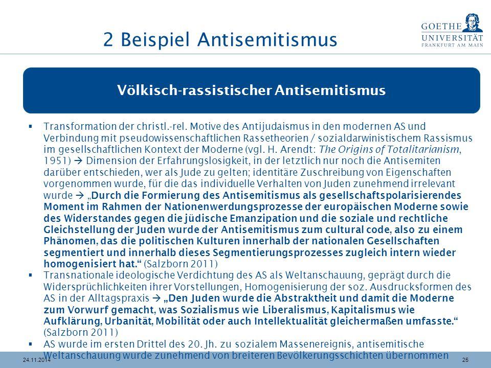 2524.11.2014 Völkisch-rassistischer Antisemitismus  Transformation der christl.-rel. Motive des Antijudaismus in den modernen AS und Verbindung mit p