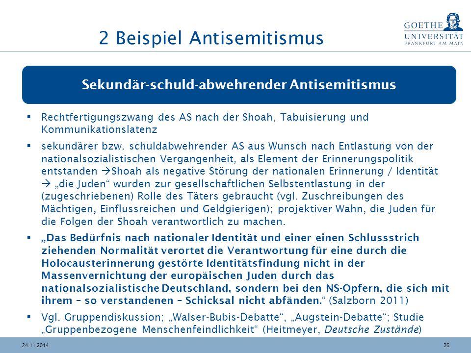 2624.11.2014 Sekundär-schuld-abwehrender Antisemitismus  Rechtfertigungszwang des AS nach der Shoah, Tabuisierung und Kommunikationslatenz  sekundärer bzw.