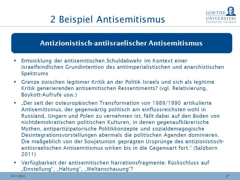 2724.11.2014 Antizionistisch-antiisraelischer Antisemitismus  Entwicklung der antisemitischen Schuldabwehr im Kontext einer israelfeindlichen Grundin