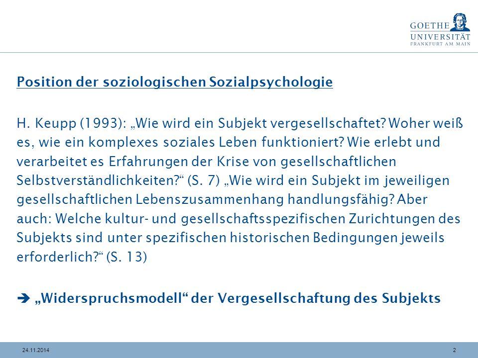 """224.11.2014 Position der soziologischen Sozialpsychologie H. Keupp (1993): """"Wie wird ein Subjekt vergesellschaftet? Woher weiß es, wie ein komplexes s"""