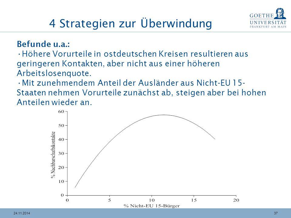 3724.11.2014 4 Strategien zur Überwindung Befunde u.a.: Höhere Vorurteile in ostdeutschen Kreisen resultieren aus geringeren Kontakten, aber nicht aus