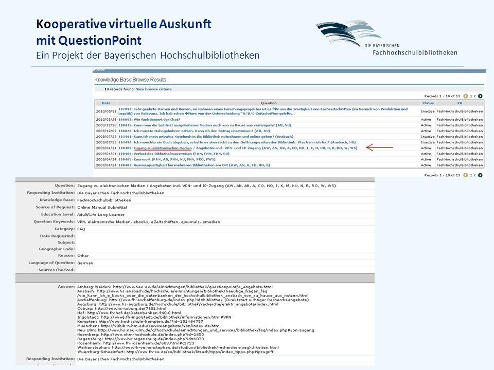 Kooperative virtuelle Auskunft mit QuestionPoint Ein Projekt der Bayerischen Hochschulbibliotheken