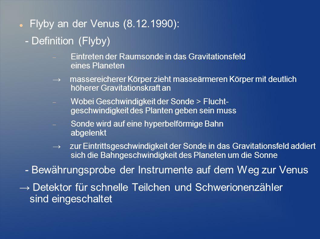 Flyby an der Venus (8.12.1990): - Definition (Flyby)  Eintreten der Raumsonde in das Gravitationsfeld eines Planeten → massereicherer Körper zieht ma