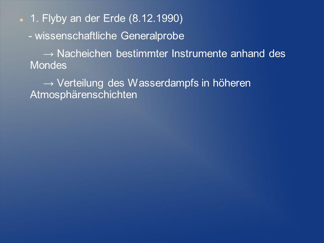 1. Flyby an der Erde (8.12.1990) - wissenschaftliche Generalprobe → Nacheichen bestimmter Instrumente anhand des Mondes → Verteilung des Wasserdampfs