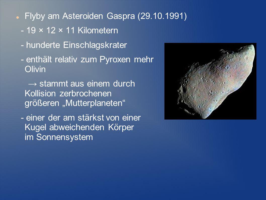 Flyby am Asteroiden Gaspra (29.10.1991) - 19 × 12 × 11 Kilometern - hunderte Einschlagskrater - enthält relativ zum Pyroxen mehr Olivin → stammt aus e